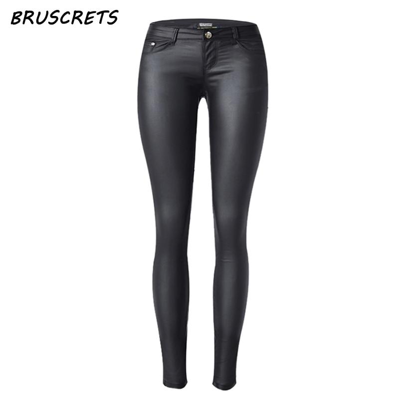 2019 Low waist women black sexy leather pants streetwear elastic Faux leather pants women jeans slim skinny pencil pants Korean