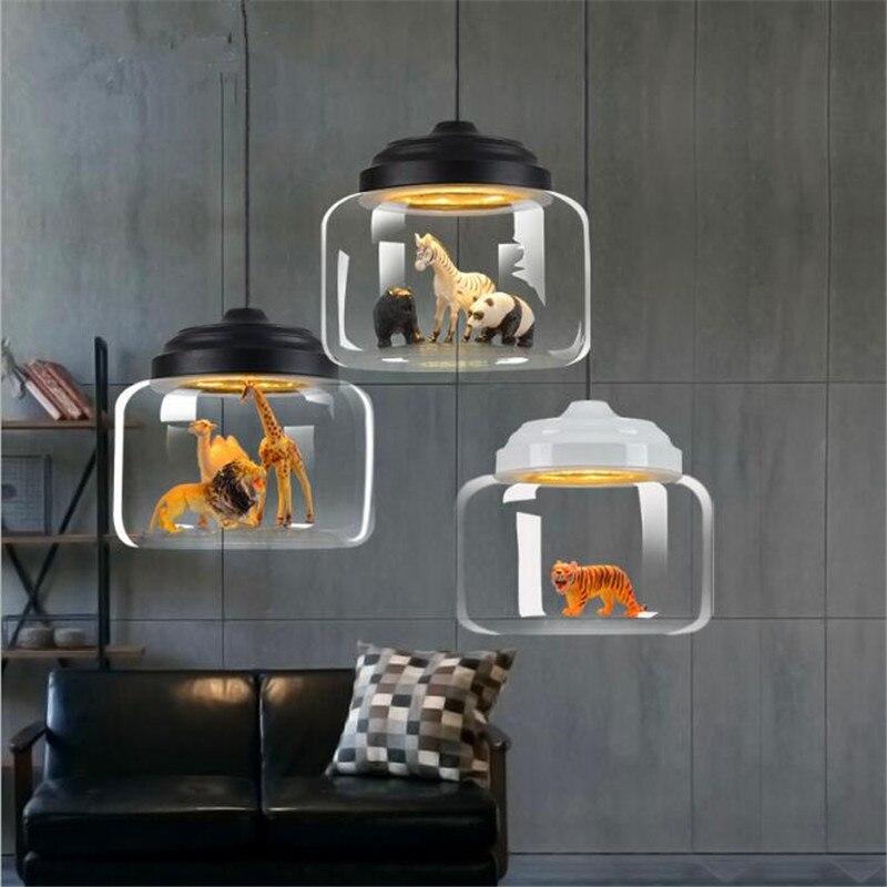Moderne créatif nordique verre Animal Zoo Led Suspension pour lit côté Bar salle à manger chambre enfants verre pendentif lumière 1822