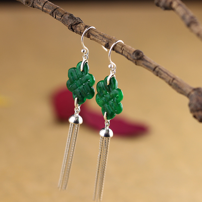 Natural Jade Long Drop Tassels Earrings For Women Ornaments Atmospheric Chinese Knot National Wind Ms Tassels Eardrop Tielong Natural Jade Long Drop Tassels Earrings For Women Ornaments Atmospheric Chinese Knot National Wind Ms Tassels Eardrop Tielong