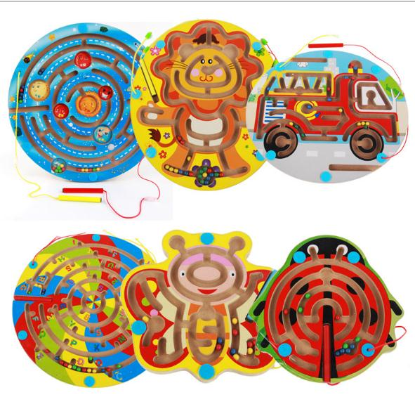 Kids Wooden Magnetic Animal Space Maze Game Magnetic Pen Labyrinth Board Intelligence Games Children Learning Education Toys