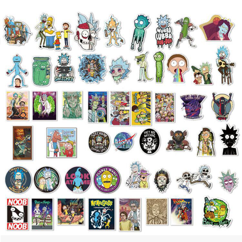 50Pcs/set Drama Pickle Rick And Morty Stickers Decal For Snowboard Laptop Luggage Car Fridge DIY Styling Vinyl Home Decor F4