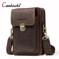 Contact's Genuine Leather Waist Bag Men Shoulder Bag Phone Fanny Pouch Crossbody Bag Belt Men Messenger Bag Hip Small