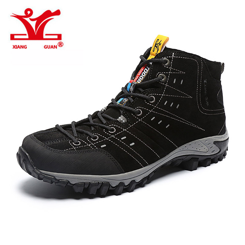 2017 XIANGGUAN Hiking Boots Outdoor Sneakers Suede Mountain male black Climbing Camping Shoes High Cut Trekking Shoes for man humtto new hiking shoes men outdoor mountain climbing trekking shoes fur strong grip rubber sole male sneakers plus size