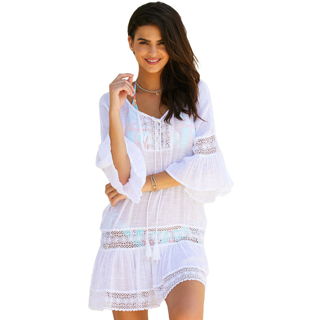 242f3b46fb Saida De Praia Feminino 2019 Club Lace Sun Dress For The Beach bandage  Beautiful Cheap Dresses Korean Casual Clothing Dantel Ete