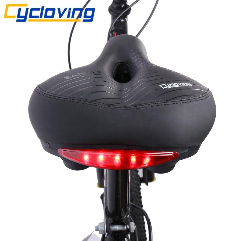 Cycloving Vélo Selle Vélo siège avec Queue Lumière Épaissir Élargir Doux Confortable Vélo VTT Vélo Accessoires siège