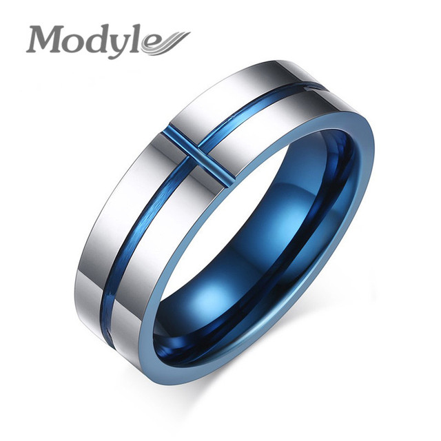 Modyle 2017 New 100 Tungsten Carbide Rings 6mm Wedding Bands Mens Jewelry Cross Ring