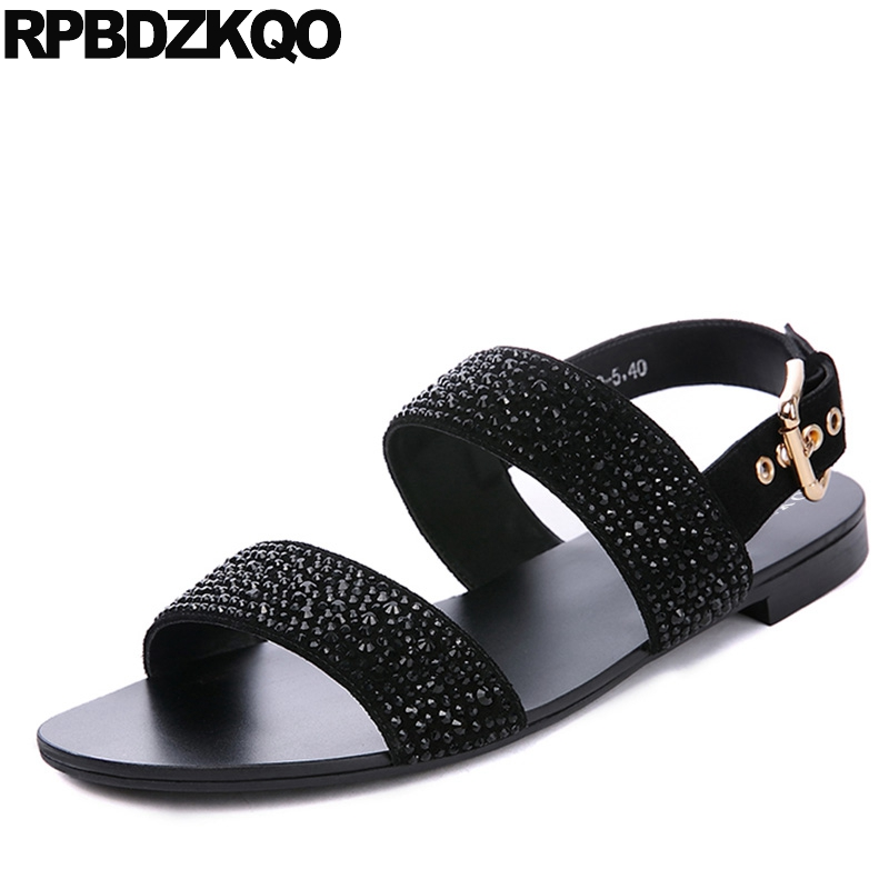 Black Roman Size 46 Rhinestone Italian Native Shoes Plus Genuine Leather 45 High Quality Men Gladiator Sandals Summer Gold Strap