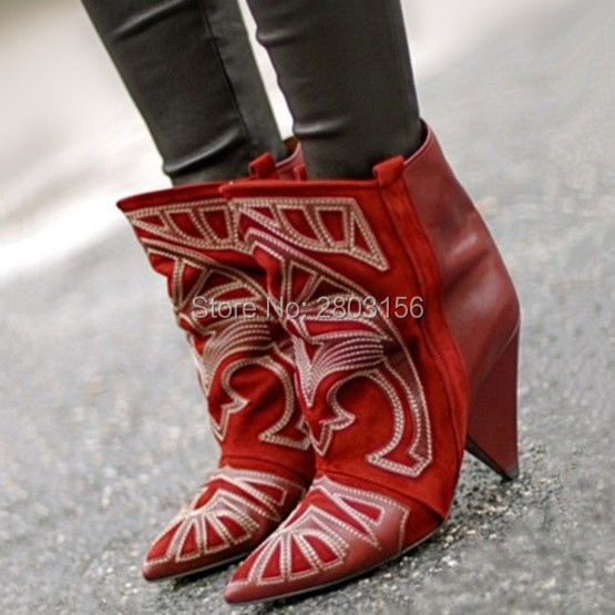 Fashion Women Boots High Heels Embroidery Ankle Boots Pointed Toe Spike Heel Women Shoes Botas Mujer Femininas