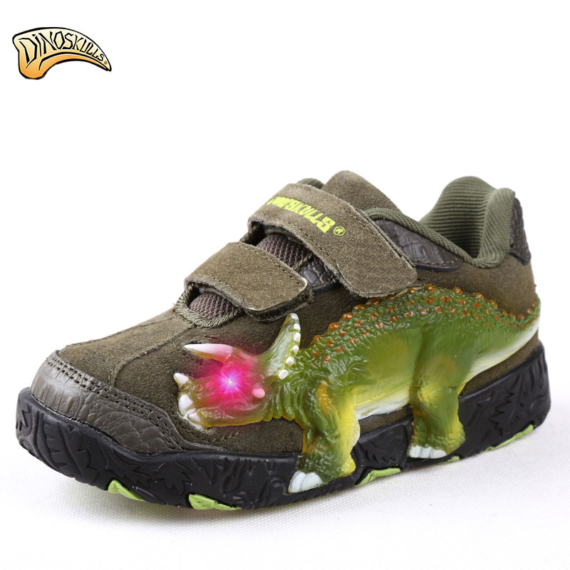 Dinoskulls 2018 New Children Shoes Kids Boys Sneakers Sport Casual Breathable Kids Running Shoes 3D Dinosaur LED Sneakers 25 40 size usb charging basket led children shoes with light up kids casual boys