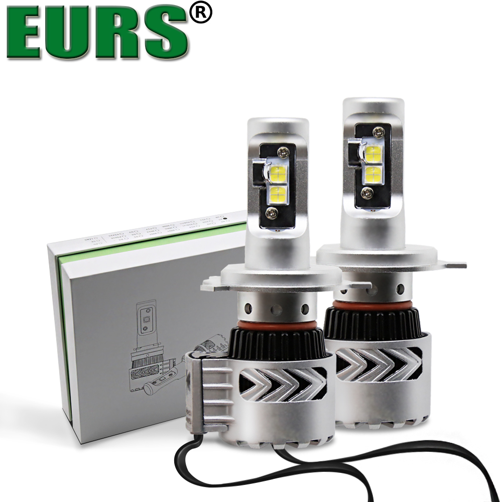 EURS(TM) 2PCS Super Bright 72W 12000LM H4 LED G8 XHP50 CHIP Car Headlight Auto Lamp 24V 6000k Automobiles Fog Light H11 H7 HB4 eurs super bright 12000lm xhp50 72w h11 h7 led lamp g8 led fog drl light bulb car auto conversion kit motorcycle headlights 12v