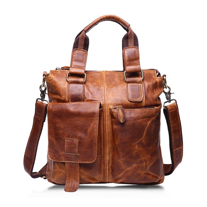 Nesitu High Quality Vintage Brown 100 Guarantee Real Skin Genuine Leather Men Messenger Bags Man Briefcase