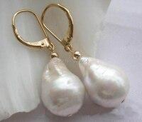 HUGE 22mm white baroque drip keshi reborn pearl dangle earring