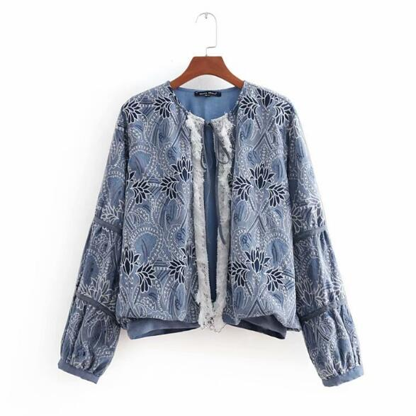 Bomber Outerwear Femme Spliced Denim Lace Flower Vintage Tassel Coat Women Harajuku Pilots Blue Embroidery Tops Jacket zU677x