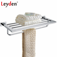 Leyden Bathroom Towel Rack Holder Stainless Steel Chrome Wall Mounted Square Bath Towel holders Towel Racks Bathroom Accessories
