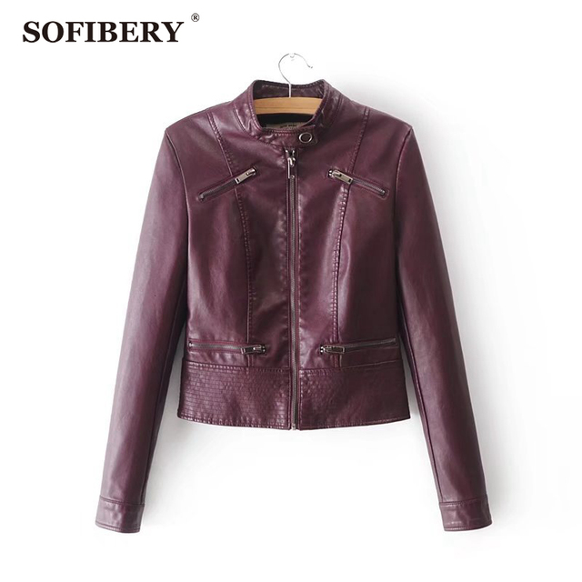 SOFIBERY Spring Autumn New HOT Leather Jacket Fashion Women Slim Long Sleeve Short Motorcycle Biker Jacket Coat FXL32