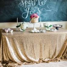 Wedding Table Set Sequins Tablecloth Cloth Dessert Decoration Birthday Party Festival Layout