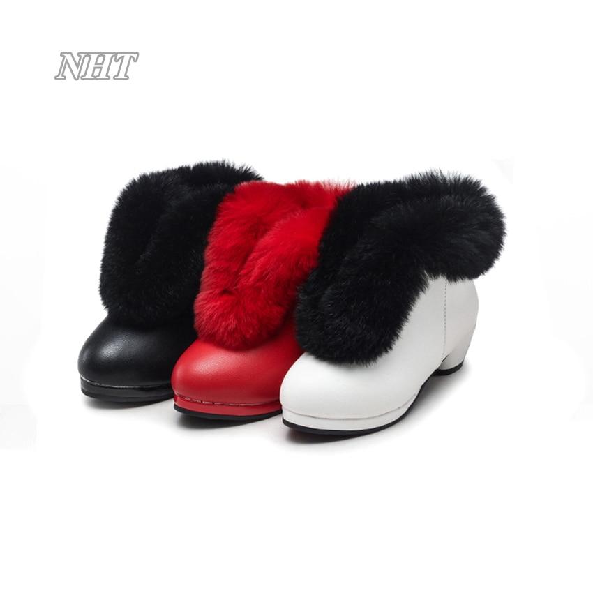 Nauhutu Exclusive Designs Children Boots For Girls Turn Over Fur Fashion Winter Shoes Warm Plush Lining