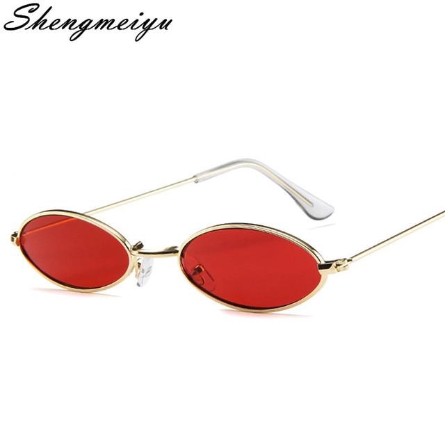 b0f2db48d9951 Pequeno Oval Óculos De Sol para homens Masculino armação De Metal retro  amarelo vermelho pequeno rodada