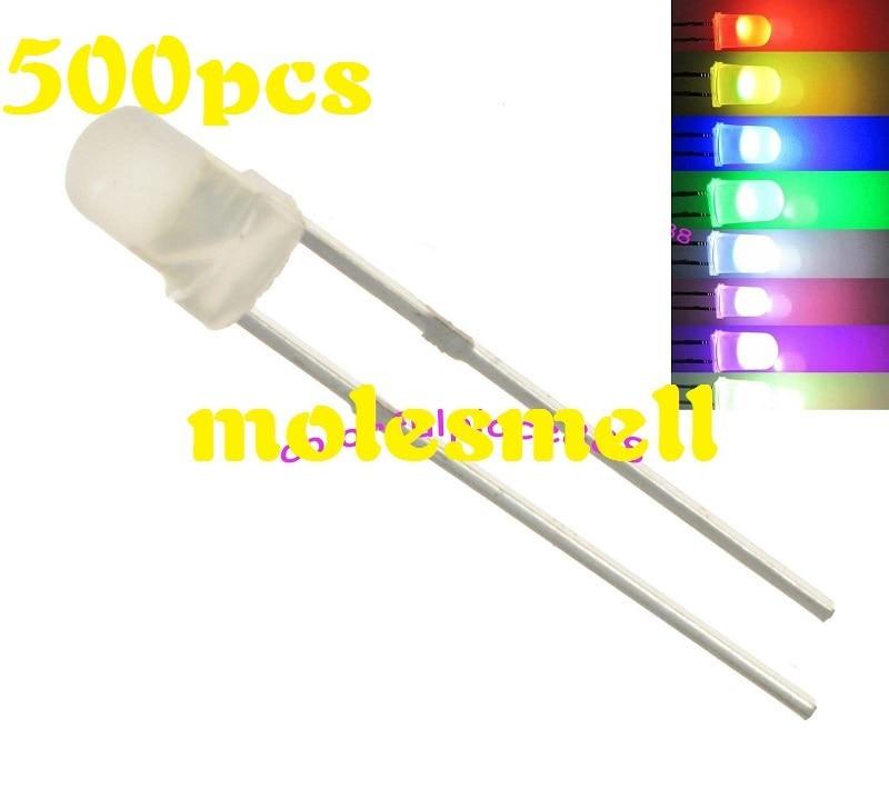 Free shipping 500pcs 3mm Diffused RGB Rainbow Slow Flashing Flash Red Green Blue LED Leds