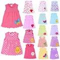 Encantador caliente 0-2y nueva baby girl clothes dress moda de algodón puro de dibujos animados niñas ropa de bebé sin mangas de dress