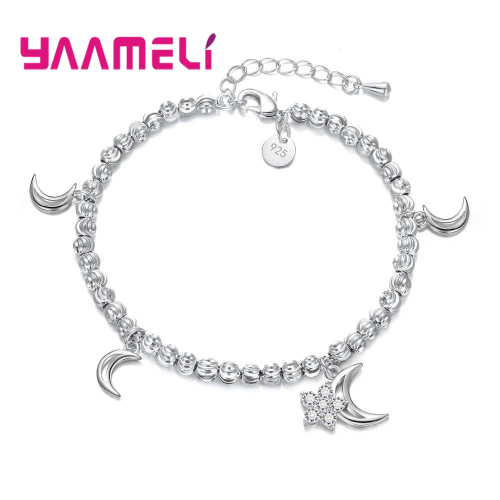 New Fashion Moon Shape Pendant Bracelet Jewelry For Women Pure 925 Sterling Silver Bracelet Bangles For Female Fine Bijoux Gift