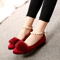 Fashion Shoes Women 2016 Suede Leather Soft Fur Flat Shoes Sexy Pointed Toe Pearl Chians Slip-on Ankle Shoes 4 Colors
