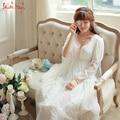 Старинные кружева ночной рубашке элегантный стиль принцессы ночь платье сексуальная домашнее платье благородный longwear домашняя одежда пят V-nevk свадебные платья