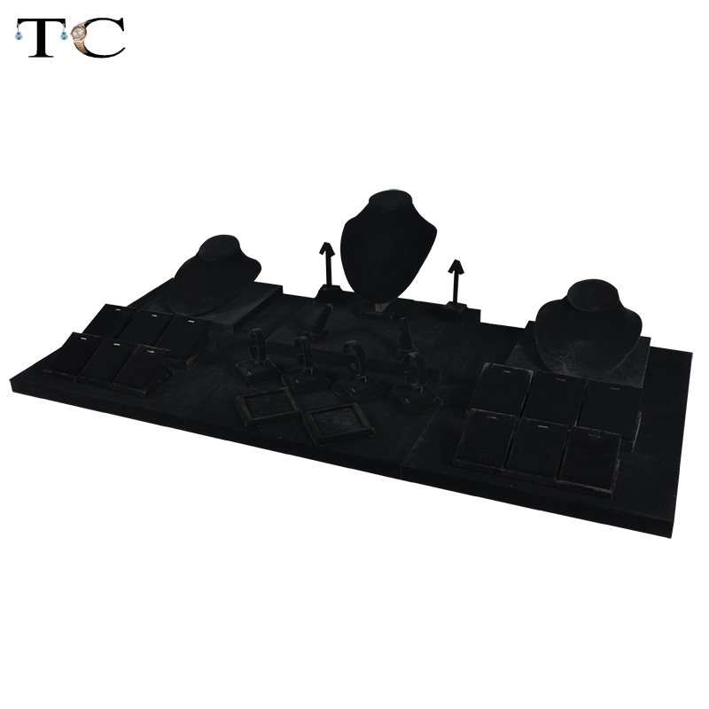 MDF Board Black Velvet Jewelry Diplay Stand Necklace Holder Ring Showed Jewellery Window Showcase 110*50*23cm