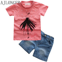 summer fashion girl clothing Sets print T-shirt and short pants girls set