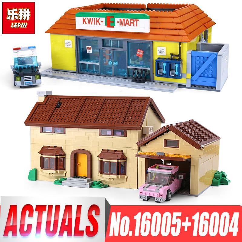 цена на LEPIN 16004 16005 2232Pcs The Simpsons Bart Homer KWIK-E-MART Action Model Building Block Bricks Compatible legoings 71016 71006