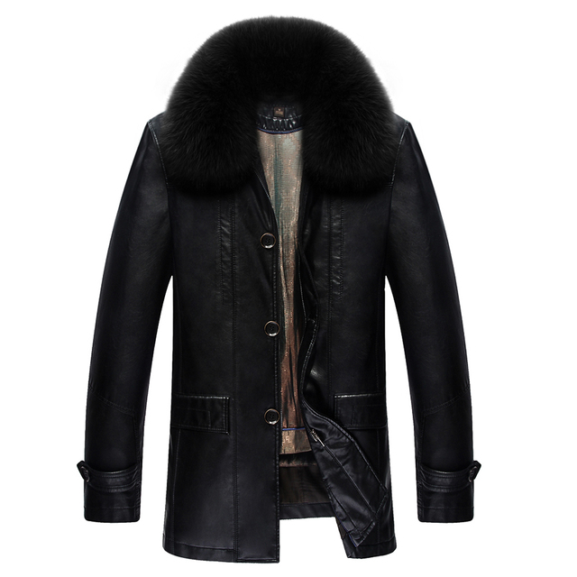 2016 New men suede jacket winter warm men's leather jackets and coats PU leather jacket men long winter jacket with fur collar