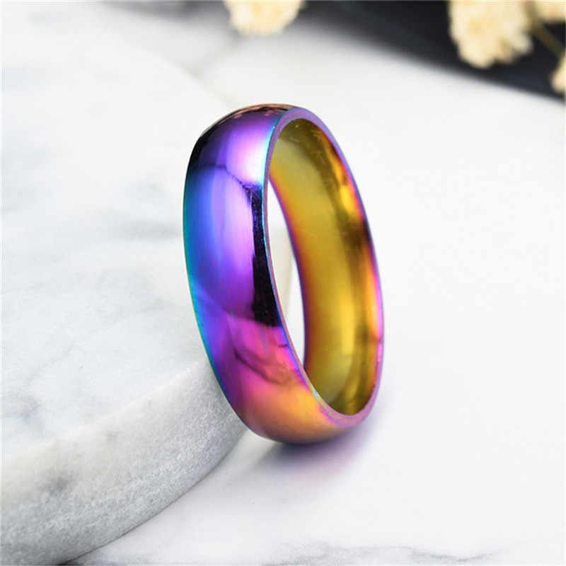 6 MM Rainbow Nhiều Màu Sắc Nhẫn Dành Cho Nữ Titan Thép Không Gỉ Cưới Ban Nhạc Vòng Người Yêu Nhẫn Đôi Nhẫn Cặp Trung Lập Trang Sức Thời trang