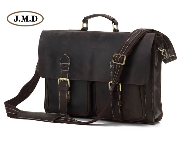 Augus Men's Fashion Genuine Cow Leather Dark Brown Business Briefcases Shoulder Bag Special Design Laptop Handbag 7105R