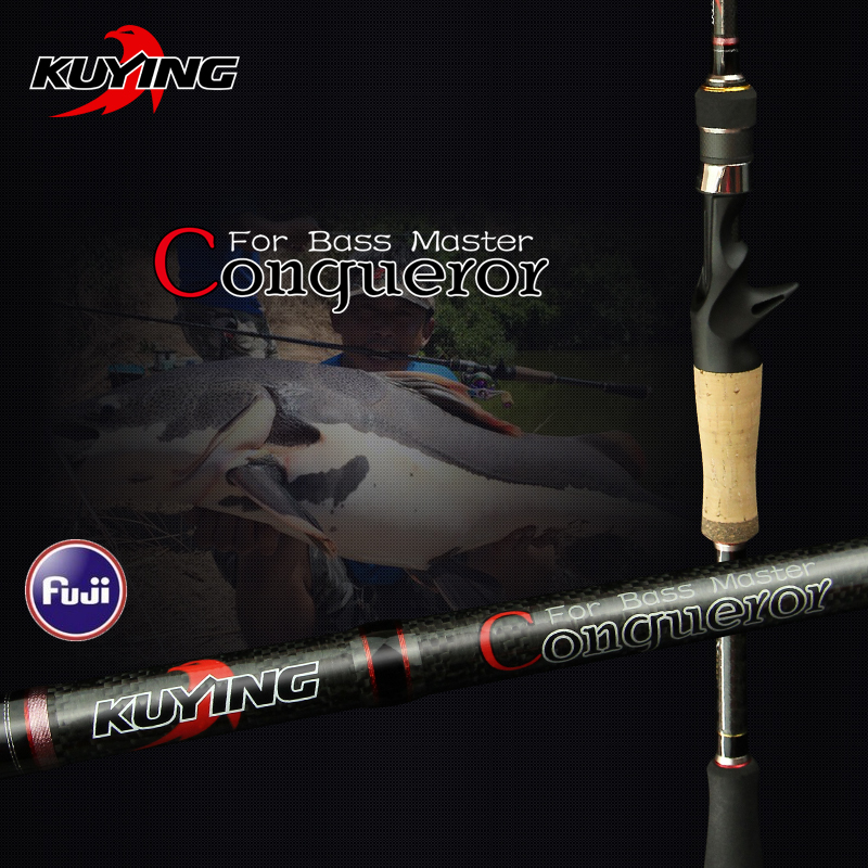 KUYING Conqueror 1.98m 2.0m 2.07m Schnelle Aktion Casting Spinning Fishing Lure Rod Carbon Pole 2 Abschnitte Bass Master Hard & Soft