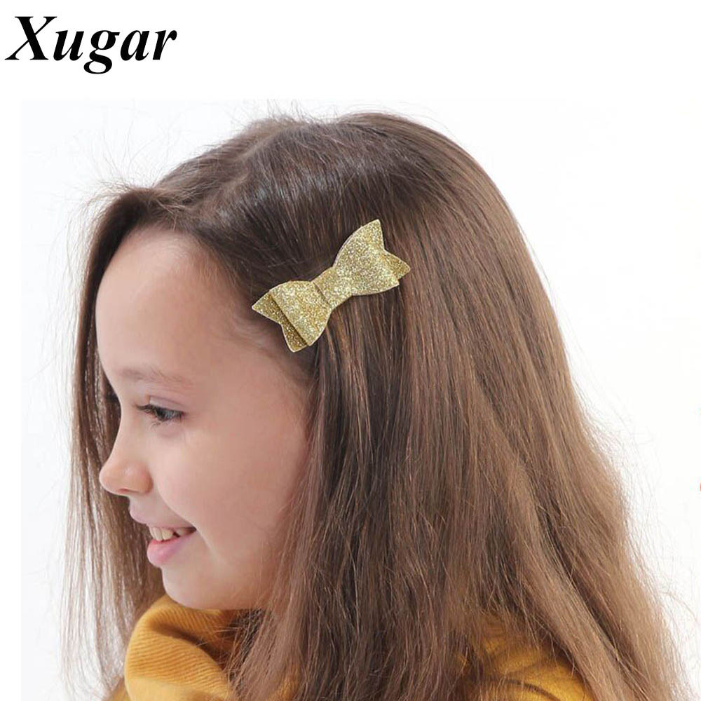 6 Pcs/Lot 3'' Girls Sweet Glitter Hair Bow For Kids Boutique Hairgrips High Quality Bling Hair Accessories pretty girls boutique shining glitter bow hair bands for dance party children toddler hair accessories
