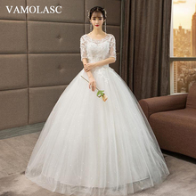 VAMOLASC Crystal O Neck Lace Appliques Ball Gown Wedding Dresses Illusion Half Sleeve Backless Bridal Gowns