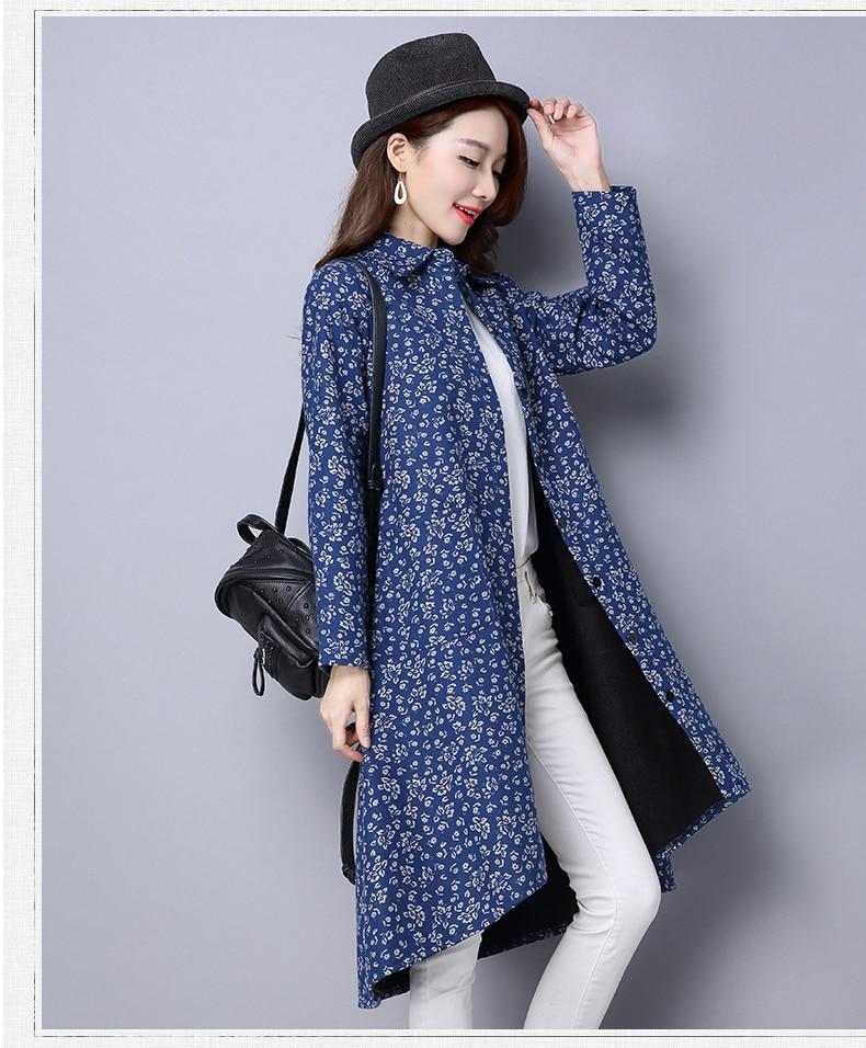 BUYKUD Vintage Shirt-Coats 2018 Autumn Winter New Long Sleeve Printed Coat Office Lady Irregular hem Women Button Linen Coats 17