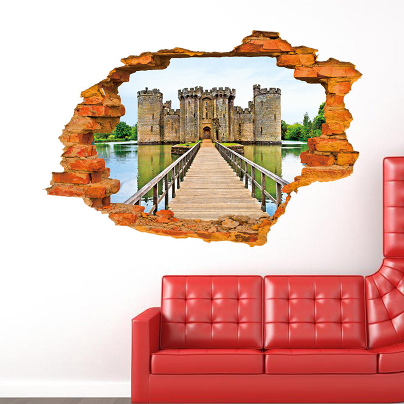 Wall Paintings Three Dimensional Stickers Castle Sticker For Home Hotel Room Bathroom Decoration Wx91627 In From