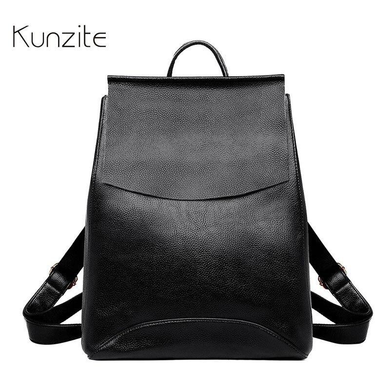 Kunzite Women Vintage Backpack High Quality Leather Sac A Dos School Bag For Girls Vintage Bagpack