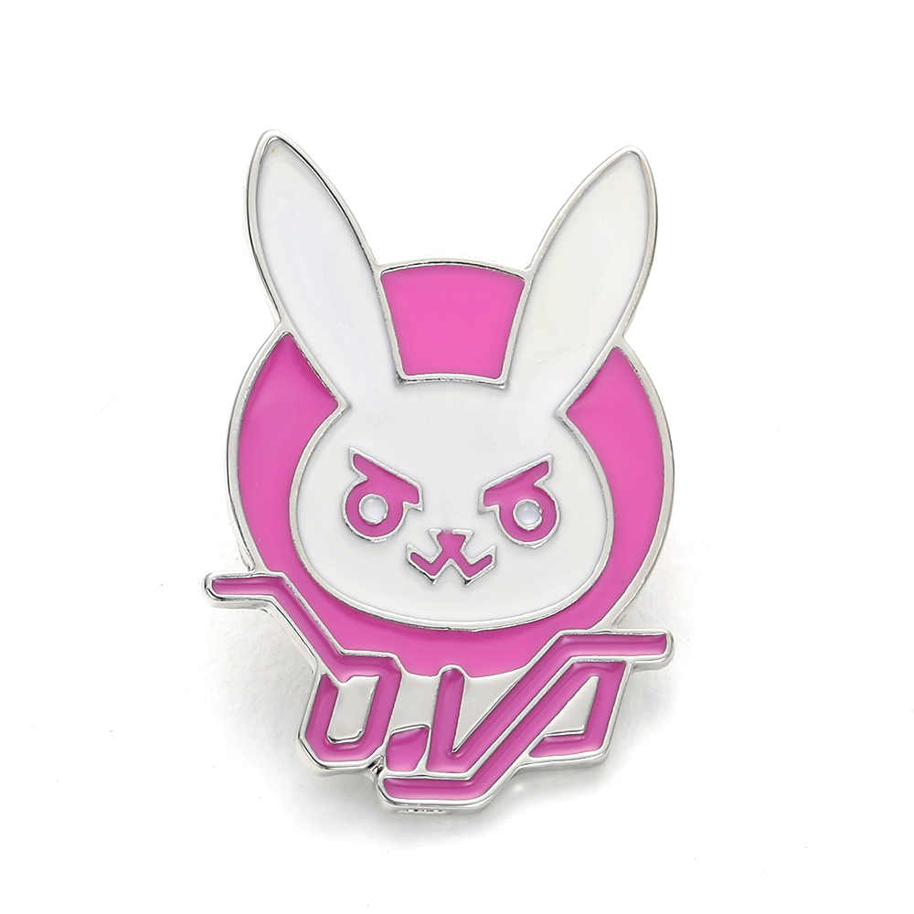 <font><b>Overwatch</b></font> Game <font><b>Dva</b></font> Rabbit Bunny Metal Pin Pink Trendy Jewelry Diva Bunny Hard Enamel Pin for Cosplay <font><b>Costume</b></font> Girl Accessory image