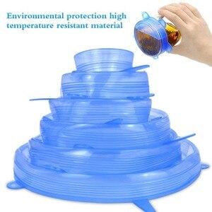 Многоразовые крышки для хранения продуктов, 6 шт., силиконовые растягивающиеся крышки для сохранения свежести пищи, различные размеры для к...
