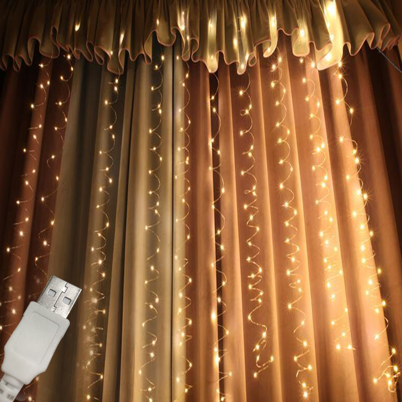 Ha condotto la Luce Della Tenda 3 M x 3 M 300 Led Ghirlanda USB Alimentato Luce Fata Argento Filo di Rame di Natale Tenda luce Della Festa Nuziale Della DecorazioneHa condotto la Luce Della Tenda 3 M x 3 M 300 Led Ghirlanda USB Alimentato Luce Fata Argento Filo di Rame di Natale Tenda luce Della Festa Nuziale Della Decorazione