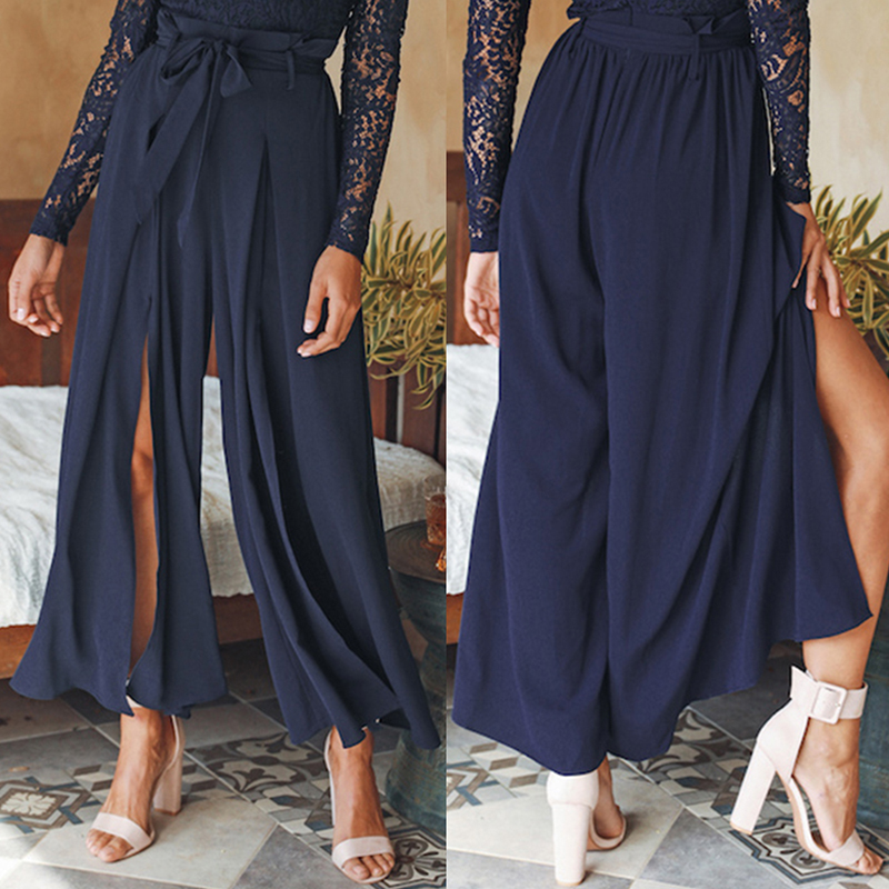 Plus Size Women Summer   Wide     Leg     Pants   Casual Loose High Slit Lace Palazzo   Pants   LadiesTrousers Straight Big Size 2019 D20
