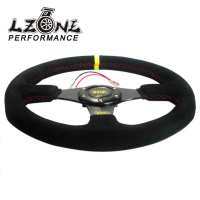 LZONE RACING NEW 14inch 350mm Suede Leather Flat Rack Corn Drifting Steering Wheel With Black Box