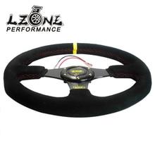 Lzone Racing-Новый 14 дюймов 350 мм замши плоские стойки Кукуруза Дрифтинг руль с черный ящик JR-SW71