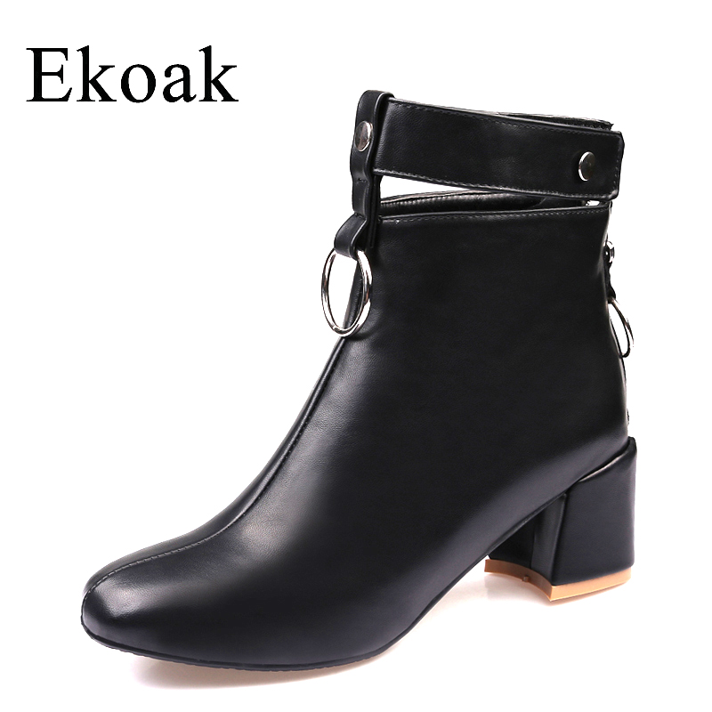 Ekoak New 2017 Autumn Winter Ankle Boots Fashion Zip Motorcycle Boots Women Leather Rubber Boots Ladies High Heels Shoes Woman new autumn winter women fashion ankle