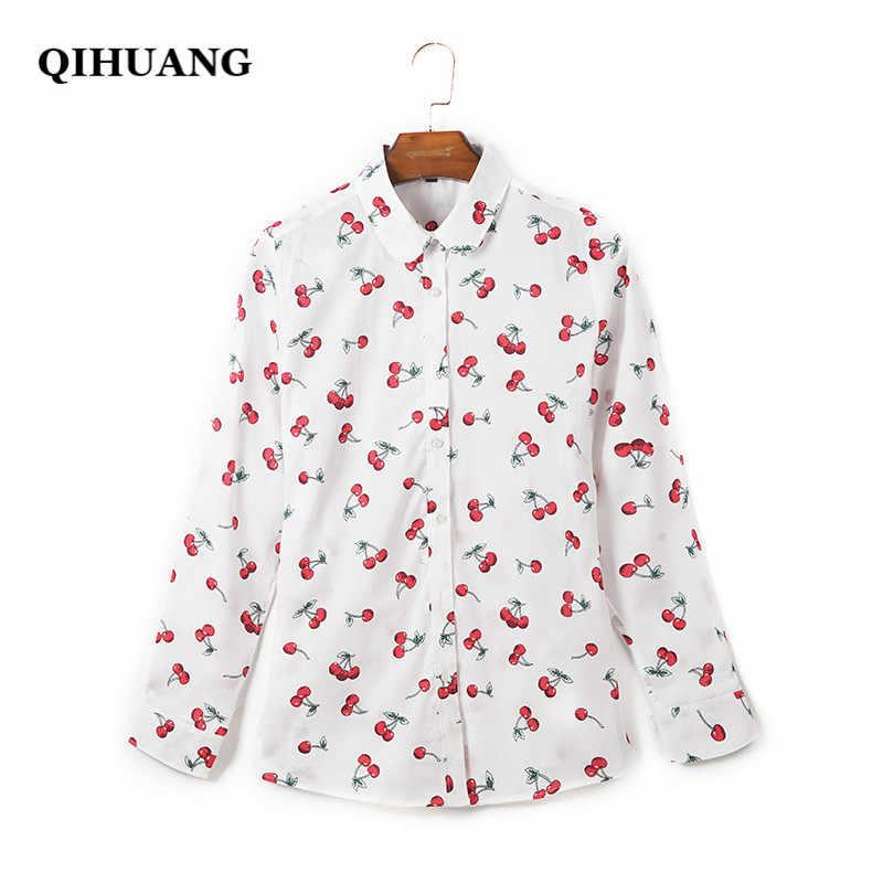 QIHUANG 2019 ファッション女性ブラウス綿チェリープリント長袖白くシャツプラスサイズ 5XL 女性トップスとブラウスストリート