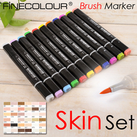 Finecolour Skin Tones Brush Marker Pen EF102 Dual Tips Soft head Designer Sketch Art Marker Drawing Alcohol Based
