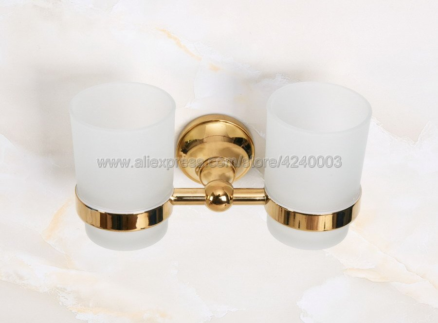 Cup & Tumbler Holders Glass Cup Bathroom Accessories Gold Brass Double Tumbler Holders Toothbrush Cup Holders Kba884 image