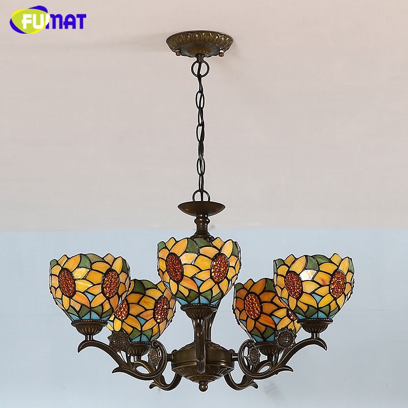 fumat tiffany chandeliers poastoral vintage creative light stained lights for living room bed room led - Tiffany Chandelier